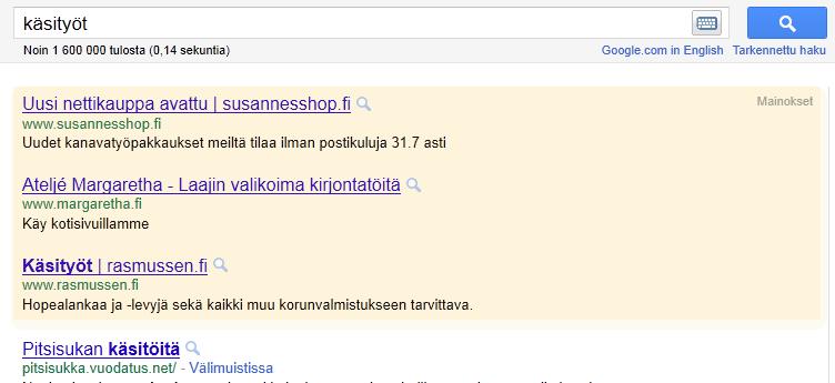 Mainoksesi näkyvät Googlessa, tärkeillä hakusanoilla